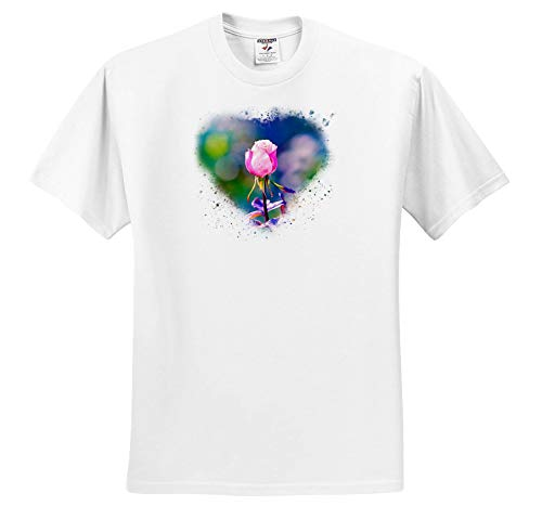 Alexis Photography - Flowers Rose - Pink Rose Flower, Heart-Shaped Frame, Colorful Splatters. Love Theme - T-Shirts - Toddler T-Shirt (3T) (ts_287104_16)
