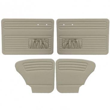 VW Door Panels, Full Set w/ Front Pockets, Off-White Vinyl, Beetle Sedan 1965-1966 (Panels Front Tmi Door)