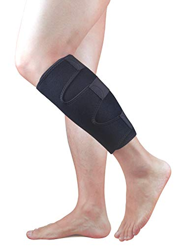 BeeChamp Adjustable Calf Compression Sports Brace Pain Relief Recovery Shin Support Wrap, Black -