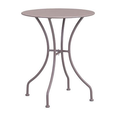 Modern Style Solid Steel Outdoor Round Dining Table in Taupe - Outdoor Furniture