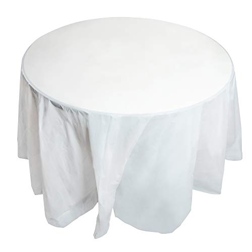 Juvale 12-Pack White Plastic Tablecloth - Round 84-Inch Disposable Table Cover, Fits Up to 72-Inch Round Tables, Solid White Color, Indoor Outdoor Party Supplies