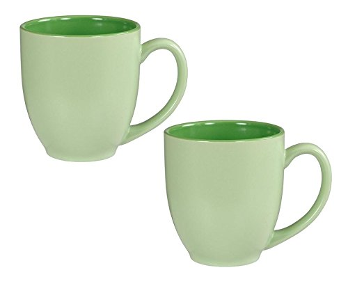(Bistro Pastel Ceramic Coffee & Tea Mug Matte Green w/Gloss Interior, 16 ounce (Pack of 2))