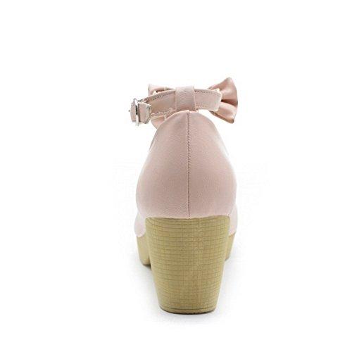 Amoonyfashion Donna Fibbia Rotonda Punta Chiusa Gattino Tacchi Pu Pompe-scarpe Solido Rosa