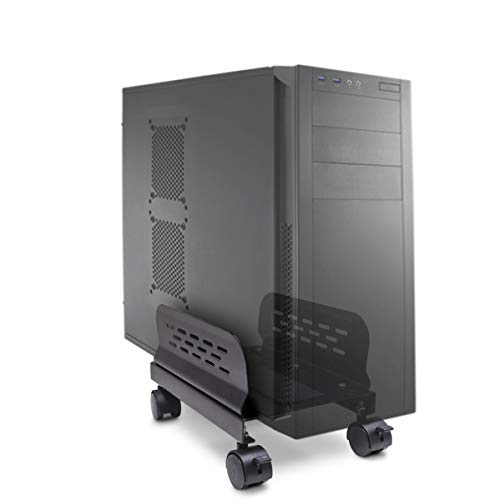 Mobile Desktop Tower Computer Metal Floor Stand Rolling Caster Wheels with Ventilation and Adjustable Width from 6 to 10 Inches