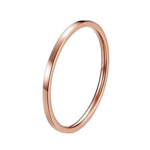 - INRENG Women's Stainless Steel 1MM Thin Plain Midi Stacking Ring Band Comfort Fit Rose Gold Size 4