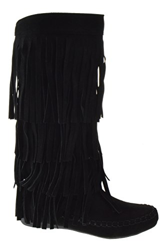 AXNY Mudd 55 Womens 4 Layer Fringe Moccasin Mid-Calf Boots,Black,8.5