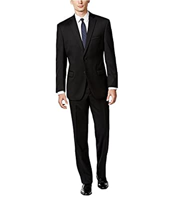 Calvin Klein Solid Mens S Two Button Wool Suit Set Black 36