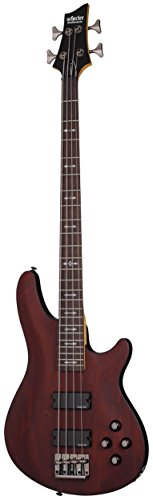 String Bass Guitar Walnut Satin - Schecter OMEN-4 4-String Bass Guitar, Walnut Satin