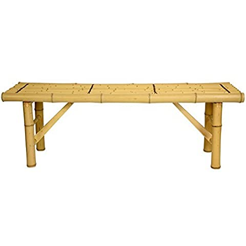 Oriental Furniture All Natural Tropical Style Coffee Table Alternative, 4-Feet, 48-Inch Japanese Design Bamboo Pole Folding Leg Bench, Light by ORIENTAL - Bamboo Style Legs