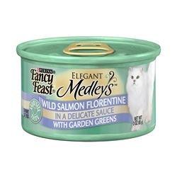 Fancy Feast Elegant Medleys Wild Salmon Florentine with Garden Greens (24/3-oz cans), My Pet Supplies
