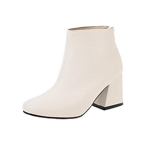 AgooLar Damen Rein PU Niedriger Absatz Reißverschluss Quadratisch Zehe Stiefel, Grau, 39