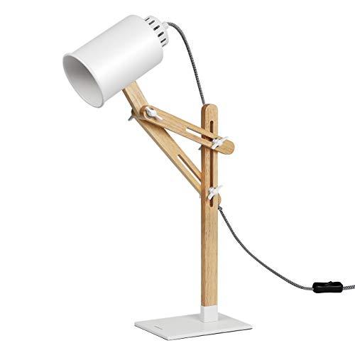 Tomons Lampara de Escritorio columpio del brazo,lampara de mesa ajustable Lampara de la Cabecera de Noche, Lampara de Madera de Diseno Clasico Con Brazo Giratorio Bombilla E27 LED - Blanco