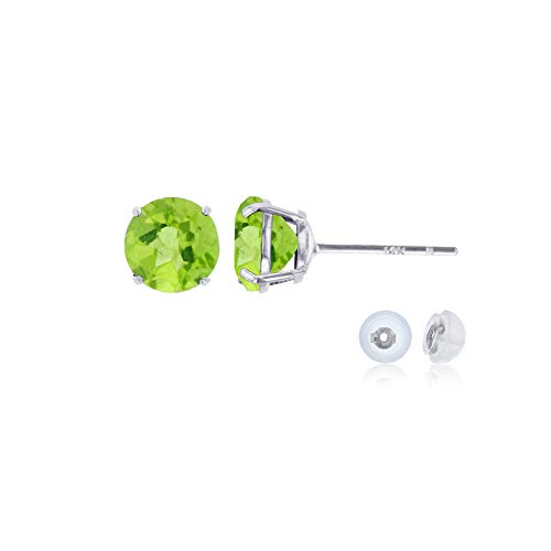 Genuine 14K Solid White Gold 4mm Round Natural Green Peridot August Birthstone Stud Earrings