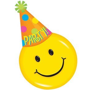 Smiley Face Party Hat Design Invitations - 8 (Party City Invitations Birthday)