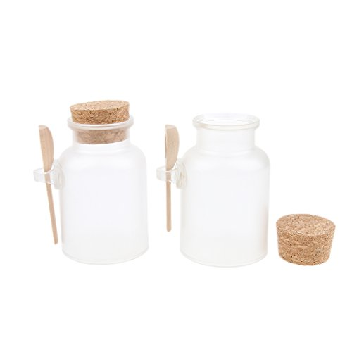 D DOLITY 2x Clear Bottle With Corks and Wood Spoon Empty Bath Salt Bottles Refillable 100g/200g - 200g