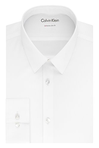 Calvin Klein Men's Dress Shirts Xtreme Slim Fit Solid Thermal Stretch, White, 18