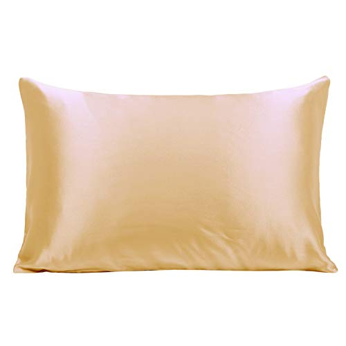 Ravmix Silk Pillowcase Standard Size for Hair and Skin Both Sides 21 Momme 600 Thread Count Hypoallergenic 100% Mulberry Silk Pillow Case with Hidden Zipper, 20×26inches, Champagne Gold (Gold Pillows Yellow)