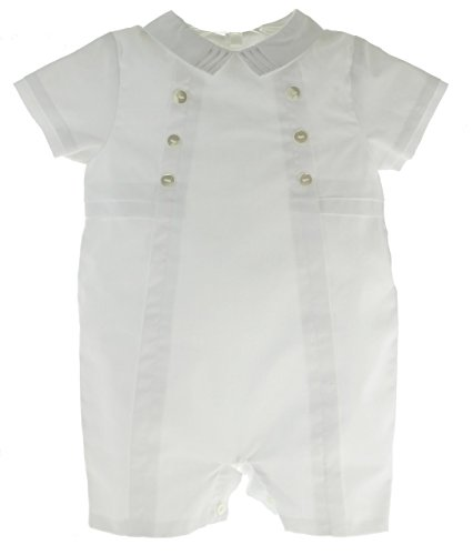 Sarah Louise Boys White Christening Outfit Shortall with Collar ()