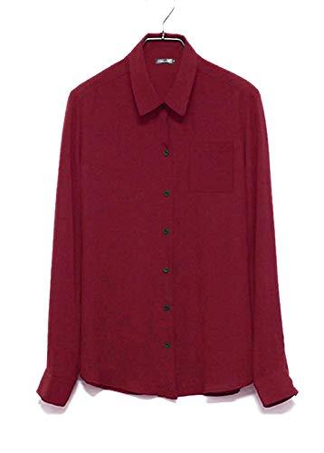 Shirts Boutonnage Style Blouse Loisir Mode Femme Simple Spcial Unicolore Elgante Rouge Office Mousseline Affaires Large Blouse Longues Haut Manches Revers Dame Chemise Chemisier qTw6FPcP