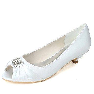 Marfil de de Zapatos Kitten Rhinestone 4U Primavera boda Mejor de champagne Noche para boda la básicos bomba Satén Champagne Toe Verano las Heel Peep la el de Zapatos mujeres banquete OpWqRAa