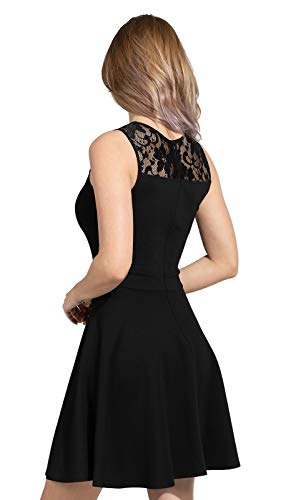 Sylvestidoso Women's A-Line Pleated Sleeveless Little Cocktail Party Dress with Floral Lace 16