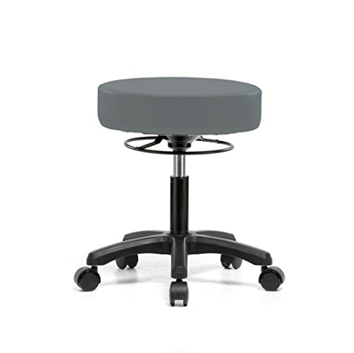 PERCH Life Rolling Height Adjustable Stool for Carpet & Linoleum   Desk Height 18-23 inches  250-pound Weight Capacity   12 Year Warranty (Cinder Fabric)