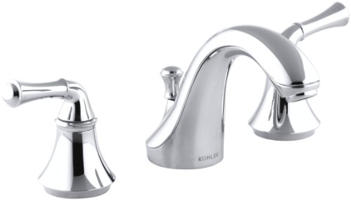 KOHLER K-10272-4A-CP Forte Widespread Lavatory Faucet with Traditional Lever Handles, Polished Chrome Classic Widespread Lavatory Set
