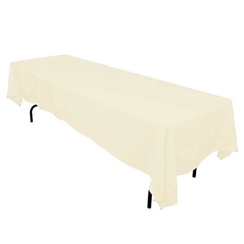 Gee Di Moda Rectangle Tablecloth - 60 x 126 Inch - Ivory Rectangular Table Cloth for 8 Foot Table in Washable Polyester - Great for Buffet Table, Parties, Holiday Dinner, Wedding & More ()