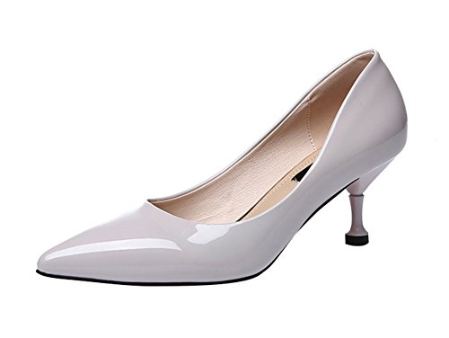 Price comparison product image Freerun Women's Dressy Slip-on Pointed Toe Pure Color Middle Heel Pumps (8 B(M)US, gray)