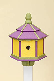 product image for DutchCrafters Poly 3-Hole Hexagon Birdhouse (Lime Green/Purple/Yellow)