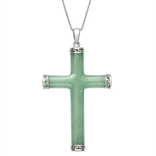 Sterling Silver Natural Green Jade Cross Necklace Pendant, 18