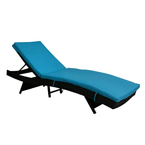 Kinbor All-Weather Adjustable Outdoor Patio Chaise Lounge Furniture PE Wicker Chaise Lounge with Removable Cushions, Blue