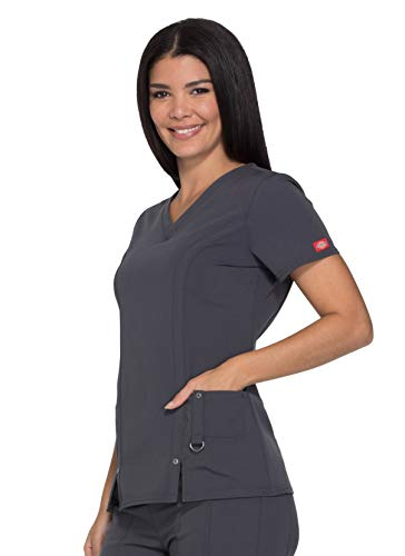 Dickies Women's Xtreme Stretch V-Neck Scrubs Shirt, Lt. Pewter, XX-Small