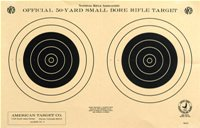 Official TQ-3/2 NRA Target, 50 Yard Smallbore Rifle, Two Bullseye, 9