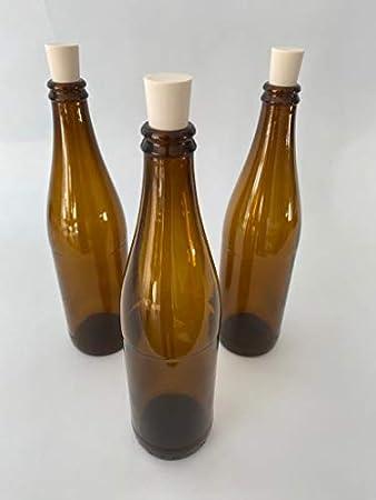 casavetro Tapón de Corcho Transparente Botellas de Vidrio vacías 500 ml - Tapas de Corcho Recargables Reutilizables - Apretado al Aire para endrinas Gin Aceite Vinagre Cerveza Vino Sidra(6 x 500 ml)