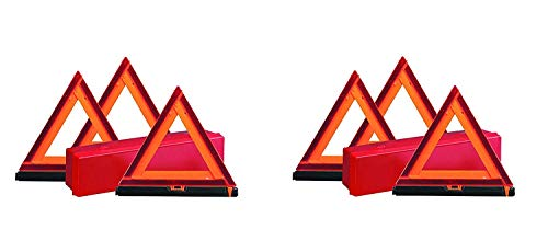 Deflecto Early Warning Road Safety Reflective Triangle Kit, Folding Design, Fluorescent Orange, Plastic, with Storage Box, (73-0711-00) (2 X Pack of 3)