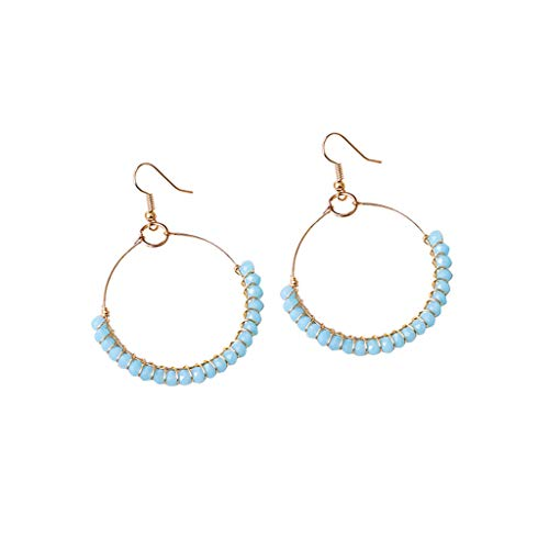 (AfazfaBohemian Style Handmade Beaded Glass Geometric Round Earrings Ladies Jewelry (sky blue))