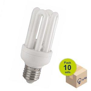 HALOTEC Pack 10 Bombillas bajo consumo CFL de 4 tubos casquillo E27 230V 15W 4200 K luz neutra KOALA COMPONENTS