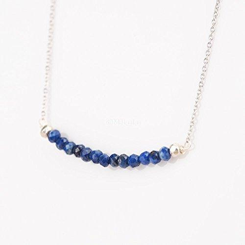 Dainty Lapis Lazuli Stone Bar Sterling Silver Blue Gemstone Necklace Lapis Gemstone Pendant