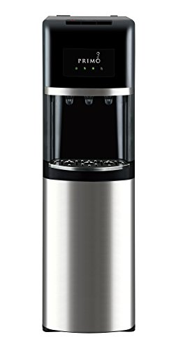 (Primo Bottom Loading Water Cooler - 3 Temperature Settings, Hot, Cold, Cool - Energy Star Rated Water Dispenser w/Child-Resistant Safety Feature Supports 3 or 5 Gallon Water Jugs [Black w/Stainless])