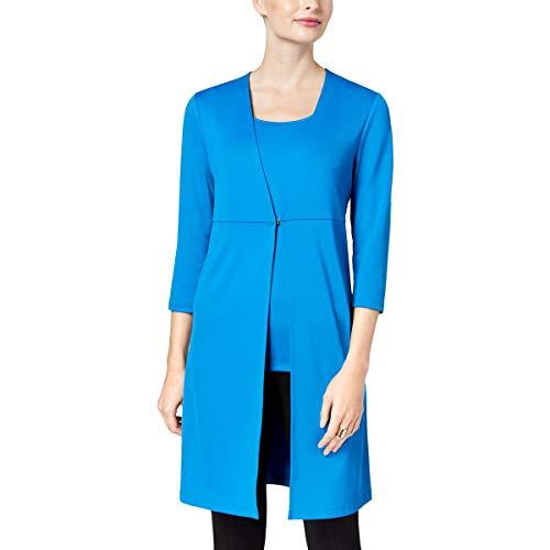 (Kasper Womens Three-Quarter Sleeves Business Knit Blazer Blue XS)