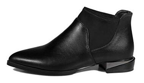 CHFSO Womens Trendy Solid Pointy Elastic Pull On Mid Chunky Heel Pull On Fall Ankle Boots Black UUIL1sy