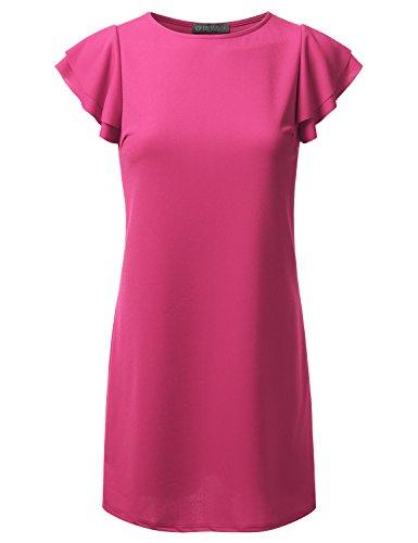 Midi Neck DRESSIS rose Awdhl07 Dress Women's Petal Sleeve Pleated Round YY4wEqF