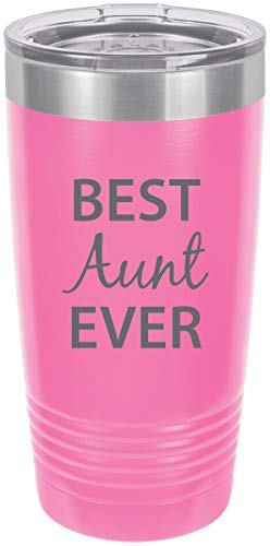 Best Aunt Ever Stainless Steel Engraved Insulated Tumbler 20 Oz Travel Coffee Mug, Pink