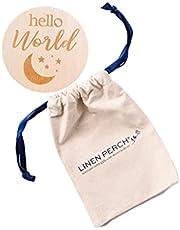"Linen Perch Birth Announcement Sign - Personalizable Wood Baby Birth Announcement - Newborn Sign for Hospital - Newborn Photography Prop - Newborn Name Tag -""Hello World (Moon/Stars)"""