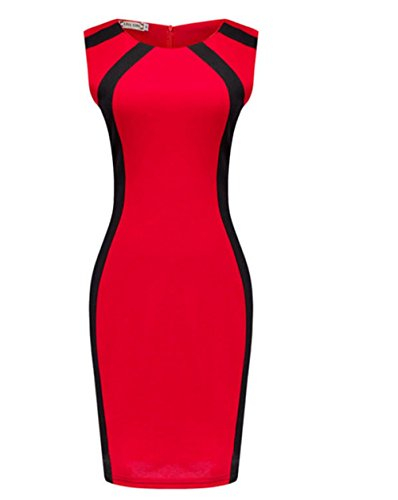 Weekendy Mode Col Rond Robe Paquet Hanche Robe Couture sans Manches Crayon Jupe pour Les Femmes Red