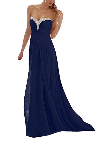 blue strapless floor length prom dress - 3