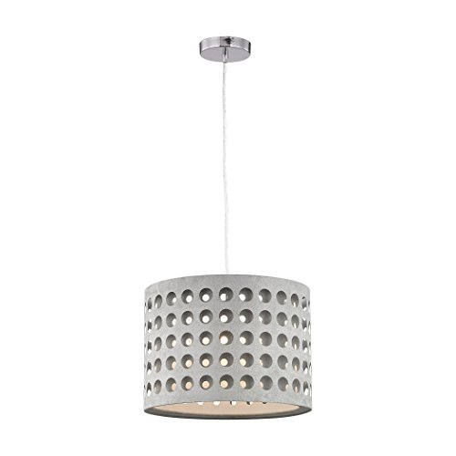 Sterling Industries D3190 Graytr - One Light Pendant, Grey Finish with Grey Glass with Grey Suede Fabric/Taupe Shade ()