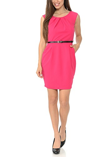 (Auliné Collection Women's Color Office Workwear Sleeveless Sheath Dress Hot Pink Medium)