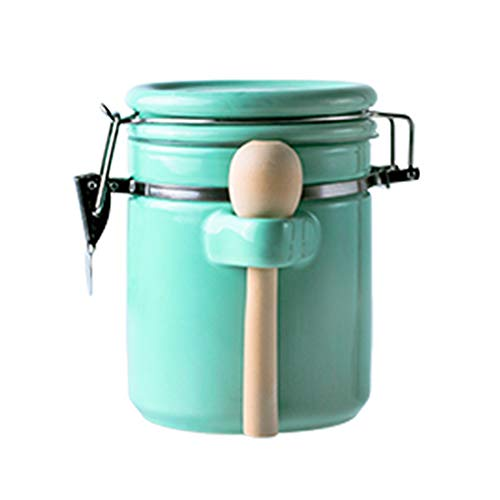 (Porcelain Coffee Sealed Canister with Valve Blocks Tea Cans Powder Candy Beans Jars Food Container Spice Storage Bottle with Lid Spoon (Mint Green, 35oz) )